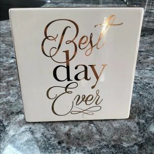 "Wedding ""best day ever"" glass sign"